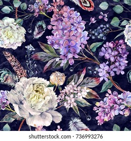 Watercolor Floral Boho Pattern made of White Peonies, Lilac, Feathers and Berries. Botanical Illustration in Vitage Style. Wedding Decoration.