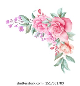 Watercolor floral border decoration for wedding invitation card. Corner flowers illustration of peach roses, leaves, branches composition isolated white background