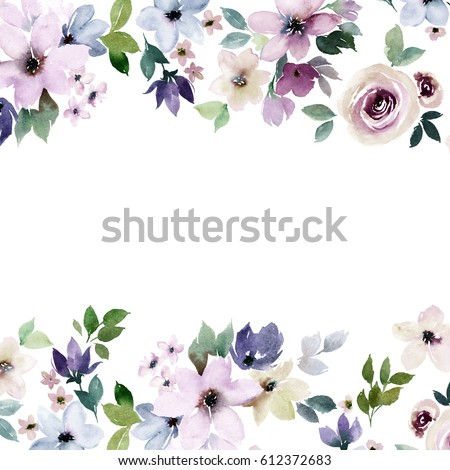 watercolor floral border design colorful templateのイラスト素材