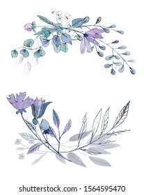 Watercolor floral border with dusty blue floral decor. Hand painted flat flowers isolated on white background. Holiday print. Winter wedding arrangement. Blue decor. Violet frame. Violet flwoers