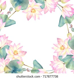 Watercolor floral border on white background. Vintage style round frame with flower lotus and leaves