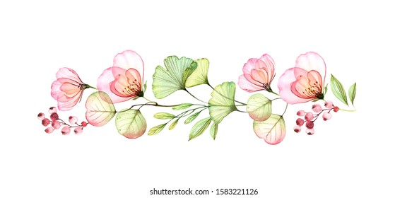 Watercolor floral border of roses, leaves and eucalyptus branch. Transparent flowers in horizontal line. Hand drawn illustration isolated on white for wedding stationery, greeting cards.
