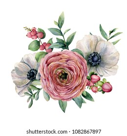 Watercolor floral bouquet with berries. Hand painted anemone, ranunculus, euvaliptus leaves and succulent branch isolated on white background. Illustration for design, fabric, print or background