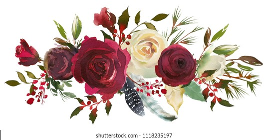 Watercolor Floral Bouquet Burgundy Bordo White Red Navy Blue Roses Peonies Leaves Horizontal Isolated On White Background