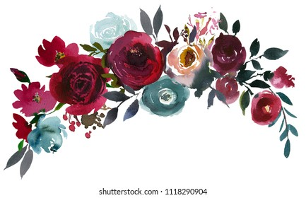 Watercolor Floral Bouquet Burgundy Bordo Red Navy Blue Roses Peonies Leaves Isolated On White Background