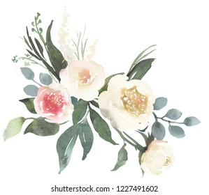 Watercolor floral bouquet composition with light roses and eucalyptus