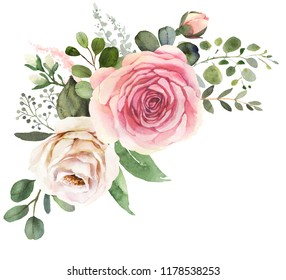 Watercolor floral bouquet composition with roses and eucalyptus
