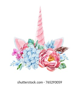 Watercolor floral bouquet with  feathers.  invitation wedding card. blue hydrangea, pink peony, pink unicorn horn and ears