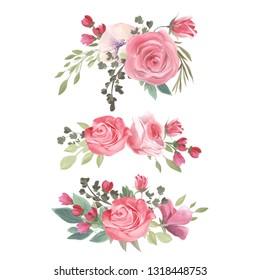 Watercolor floral bouquet, flowers arrangement. Vintage rose flowers