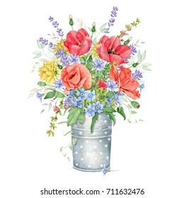 Watercolor Floral Bouquet with Meadow Flowers