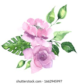 Watercolor floral bouquet with pink and lilac tropical flowers magnolias and leaves