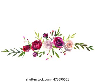 Burgundy flower images stock photos vectors shutterstock watercolor floral bouquet purple burgundy roses peonies flowers and leaves isolated on white background mightylinksfo
