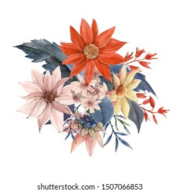 Watercolor floral bouquet, red and white flowers dahlias, daisies. Autumn floral design