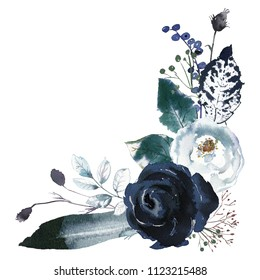 Watercolor Floral Bouquet Roses Peonies Leaves Boho White Grey Indigo Blue Navy Isolated On White Background