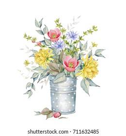 Watercolor Floral Bouquet in Vase