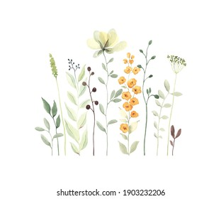 Watercolor floral card with abstract wildflowers, branches and leaves, isolated illustration in pastel colors on white background in vintage style.