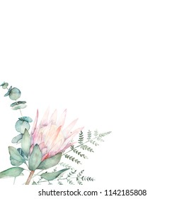 Watercolor floral card with eucalyptus branch, protea and fern. Hand drawn botanical illustration. Art background