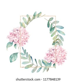 Watercolor floral card with eucalyptus branch and hydrangea. Hand drawn summerl illustration. Geometric wedding frame