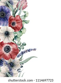 Watercolor floral card with red, blue white anemone. Hand painted bouquet with red, white and blue anemone, eucalyptus leaves and branch, lavender, tulip, berries isolated on white background