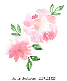 Watercolor floral cluster clip art on a white background