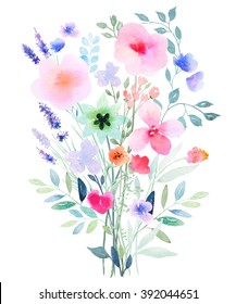 Watercolor floral composition.  Fast isolation. Hi-res file. Hand painted. Raster illustration.