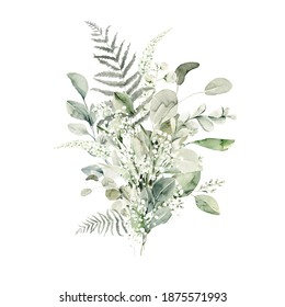 Watercolor floral composition. Hand painted forest leaves of fern, eucalyptus, gypsophila. Green bouquet isolated on white background. Botanical illustration for design, print