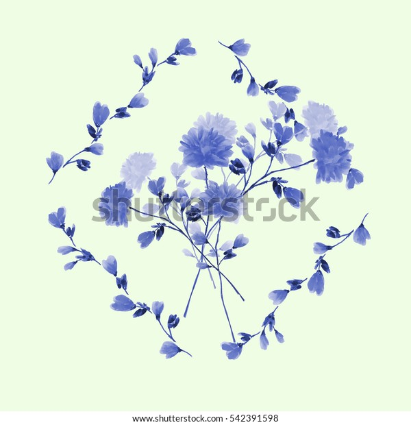 Watercolor floral decoration. Bouquet of blue flowers in frame of blue branches  on a light green background