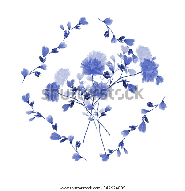 Watercolor floral decoration. Bouquet of blue flowers in frame of blue branches  on a white background