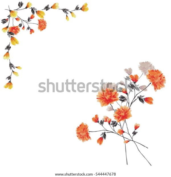Watercolor floral decoration. Frame of yellow branches with bouquet of red flowers on a white background