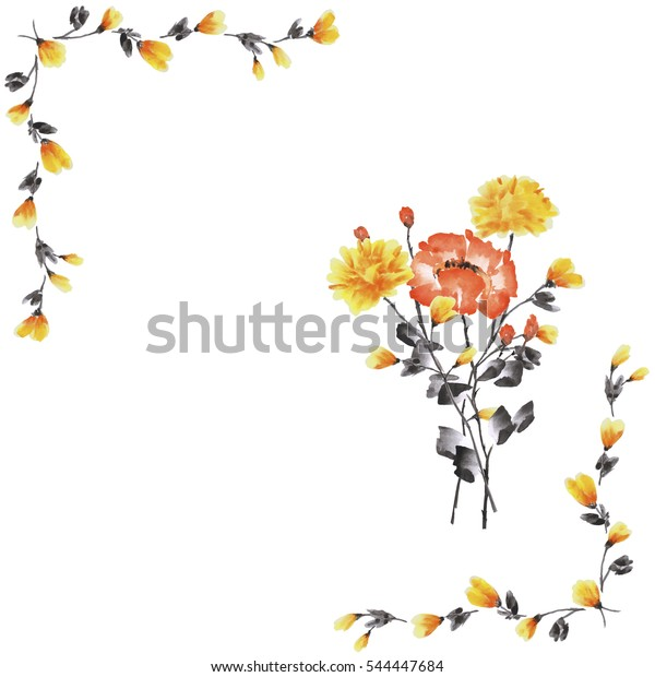 Watercolor floral decoration. Frame of yellow branches with bouquet of yellow and red rose on a white background