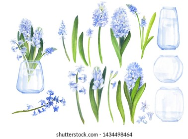 Watercolor floral elements: hyacinths and vases for making various compositions