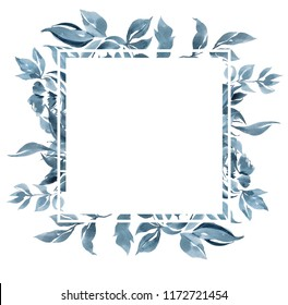 Watercolor Floral Frame Border Blue Abstract Stock Illustration