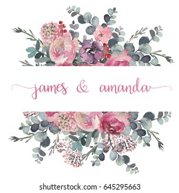 Watercolor floral frame / border - flower illustration for wedding, anniversary, birthday, invitations, romantic events. Floral arrangement with flower composition on white background. Pastel colors.