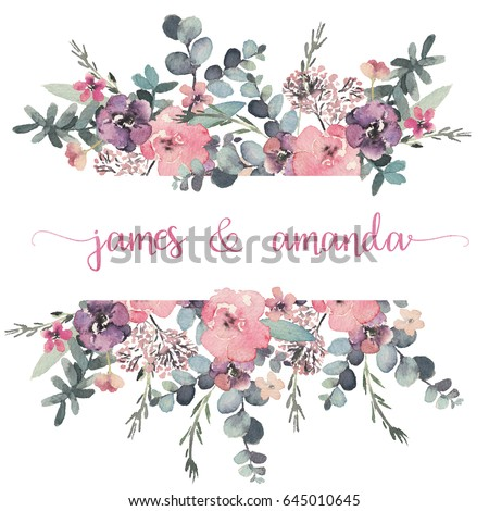 Watercolor Floral Frame Border Flower Illustration Stock ...