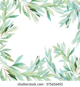 Watercolor floral frame card. Hand painted border with branches and leaves isolated on white background. Botanical frame design