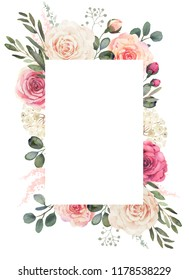 Watercolor floral frame composition with roses and eucalyptus