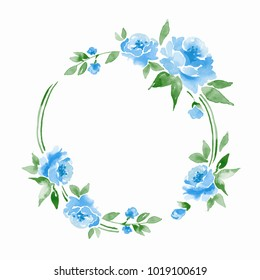 Watercolor Floral Frame Element For Design Background With Blue Flowers