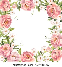 Watercolor floral frame with peonies, roses and blooming cherry. For wedding invitations, greeting card and other design.