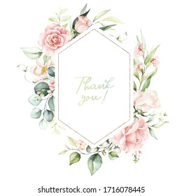 Watercolor floral frame / wreath - flowers, leaves and branches with gold geometric shape, for wedding invites, greeting cards, wallpapers, fashion, background. Eucalyptus, pink roses, green leaves.