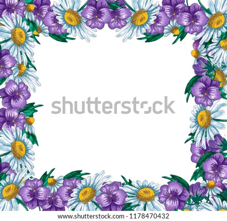 Watercolor Floral Frames Wild Flowers Leaves Stock Illustration ...