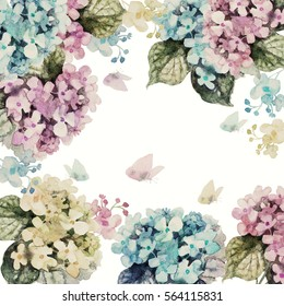 Watercolor floral garland  colorful hydrangeas with butterflies , isolated on white background