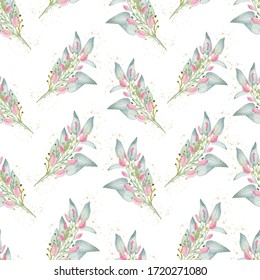 Watercolor floral greenery clipart, seamless pattern paper. Hand drawn illustration. Digital background.
