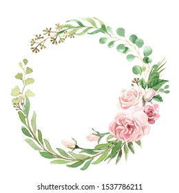Watercolor Floral Greenery Foliage Wreath