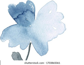 Watercolor floral greeting card template. Blue and gray loose abstract flower background.