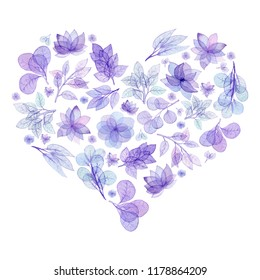 Watercolor Floral Heart Isolated on White Background. Cover or Card Template