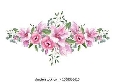 Watercolor floral illustration with blooming pink magnolia flowers and eucalyptus green leaves isolated on white background.