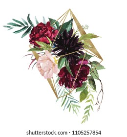 Watercolor floral illustration - burgundy flowers bouquet with gold geometric shape, for wedding stationary, greetings, wallpapers, fashion, background. Peony, dahlia, rose, anemone, eucalyptus, olive