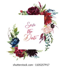 Watercolor floral illustration - burgundy flowers frame for wedding stationary, greetings, wallpapers, fashion, background. Peony, dahlia, rose, anemone, eucalyptus, olive, green leaves, etc.