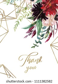 Watercolor floral illustration - burgundy flowers wreath / frame with gold geometric shape and crystal, for wedding stationary, greetings, wallpapers, fashion. Peony, dahlia, rose, eucalyptus, olive.