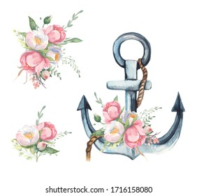Watercolor floral illustration collection - flower and green leaf branches bouquets collection, anchor with rope, for wedding invite, greetings, wallpapers, fashion. Watercolor flowers, anchor.